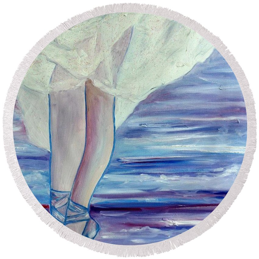 Ballet Round Beach Towel featuring the painting En Pointe by Julie Brugh Riffey