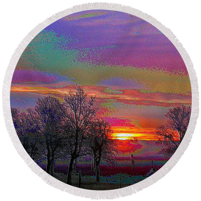 Sunrise Round Beach Towel featuring the photograph Enameled Sunrise Of Northern California by Joyce Dickens