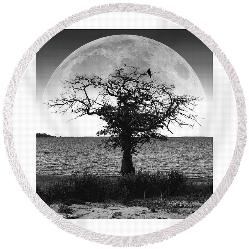 2d Round Beach Towel featuring the photograph Enchanted Moon by Brian Wallace
