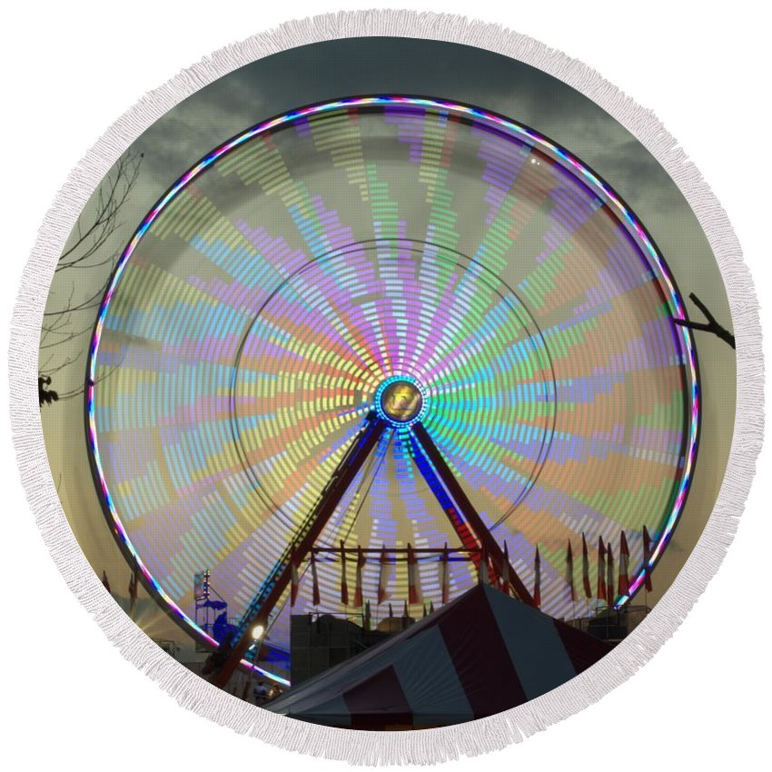 Ferris Wheel Round Beach Towel featuring the photograph End Of Day With Design by Donna Brown