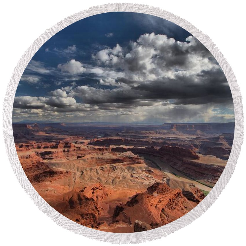 Dead Horse Point Round Beach Towel featuring the photograph Endless Canyons by Adam Jewell