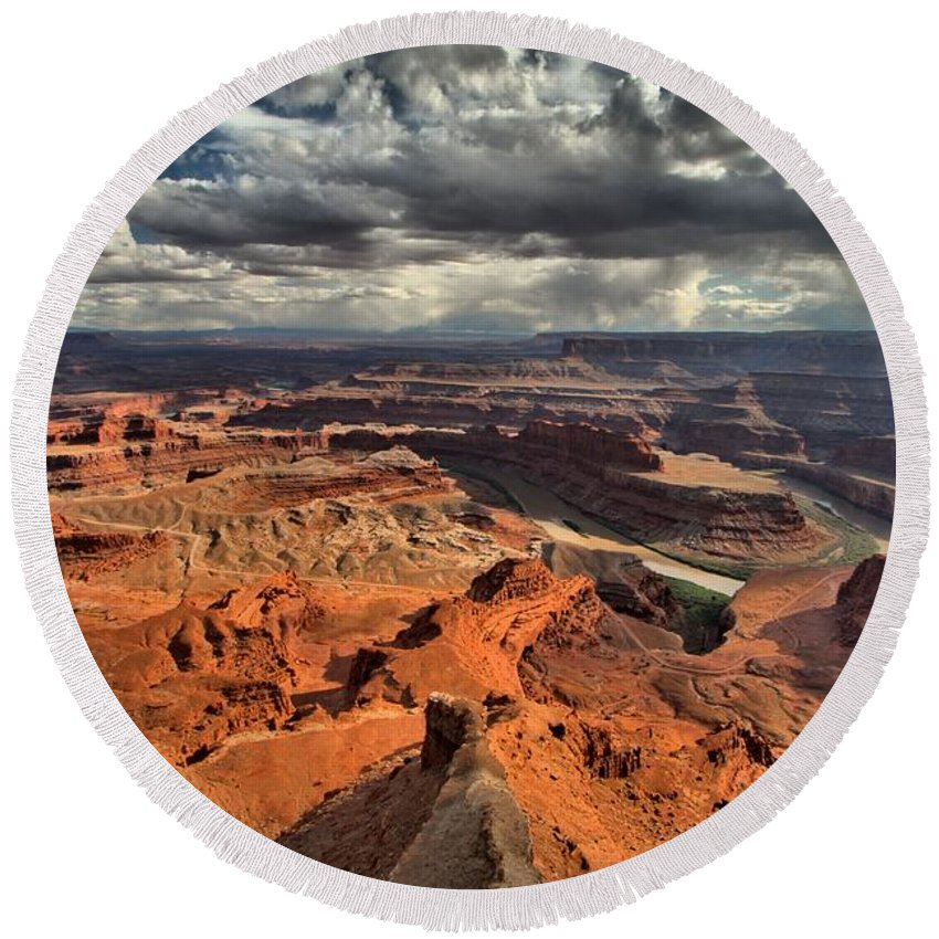 Dead Horse Point Round Beach Towel featuring the photograph Endless Utah Canyons by Adam Jewell