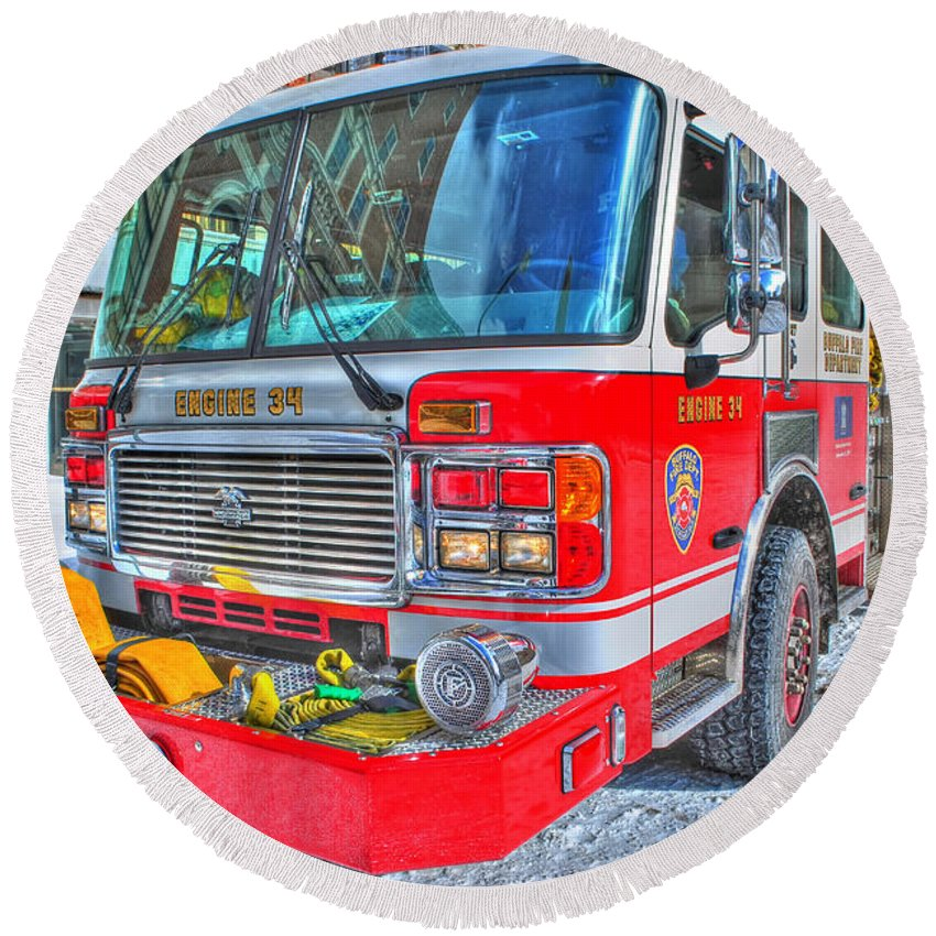 Round Beach Towel featuring the photograph Engine 34 Readied Up by Michael Frank Jr