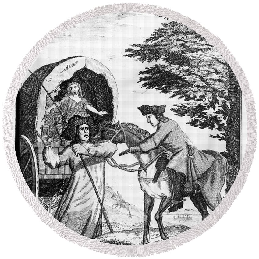 17th Century Round Beach Towel featuring the photograph England: Highway Robbery by Granger