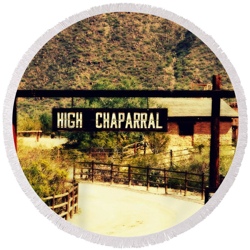 High Chaparral Round Beach Towel featuring the photograph Entrance To The High Chaparral Ranch by Susanne Van Hulst