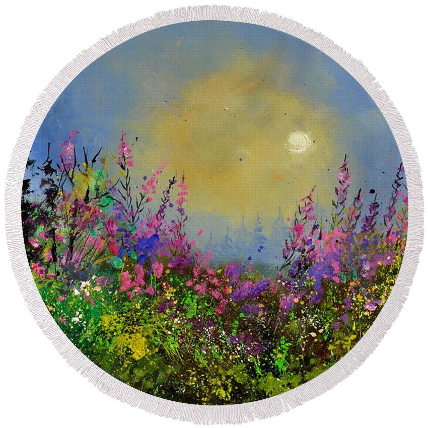 Flowers Round Beach Towel featuring the painting Epilobes by Pol Ledent