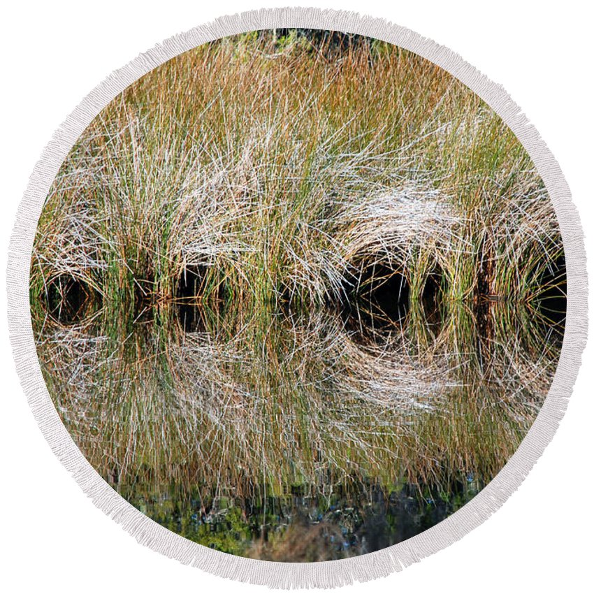 Reeds Round Beach Towel featuring the photograph Escape Hatches by Kay Lovingood