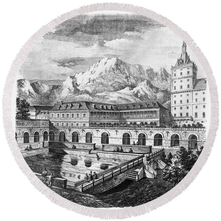 1860 Round Beach Towel featuring the photograph Escorial: Gardens by Granger