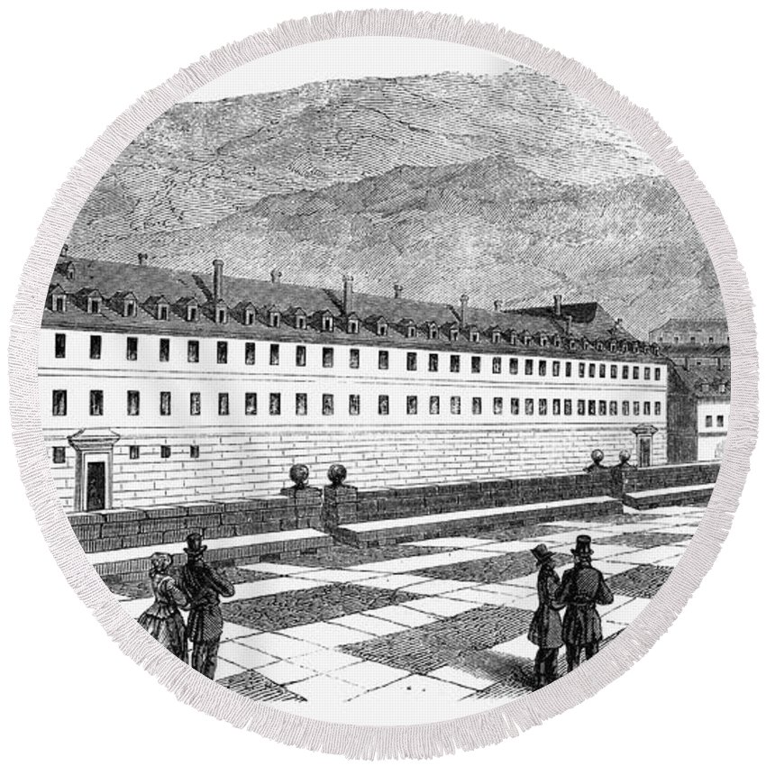 1860 Round Beach Towel featuring the photograph Escorial: Infantes House by Granger