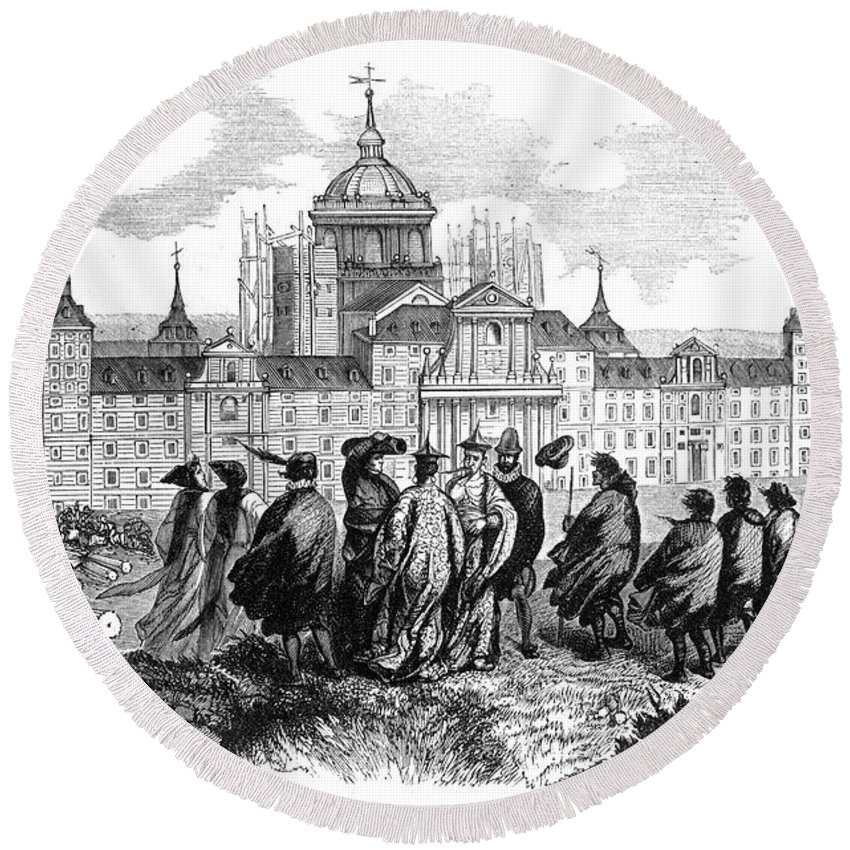 1860 Round Beach Towel featuring the photograph Escorial: Japanese Visitors by Granger