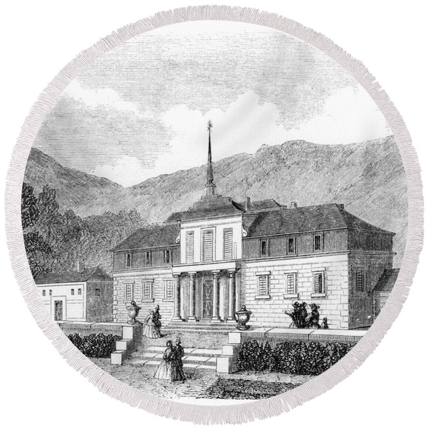 1860 Round Beach Towel featuring the photograph Escorial: Princes House by Granger