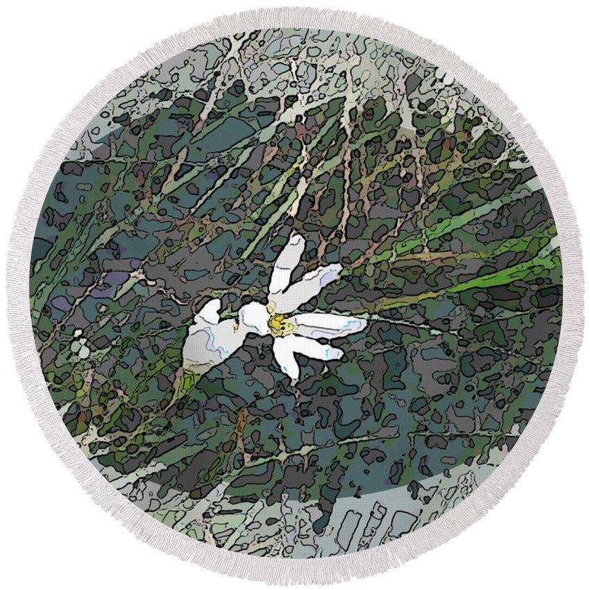 Flower Round Beach Towel featuring the digital art Estuary Bloom by Tim Allen