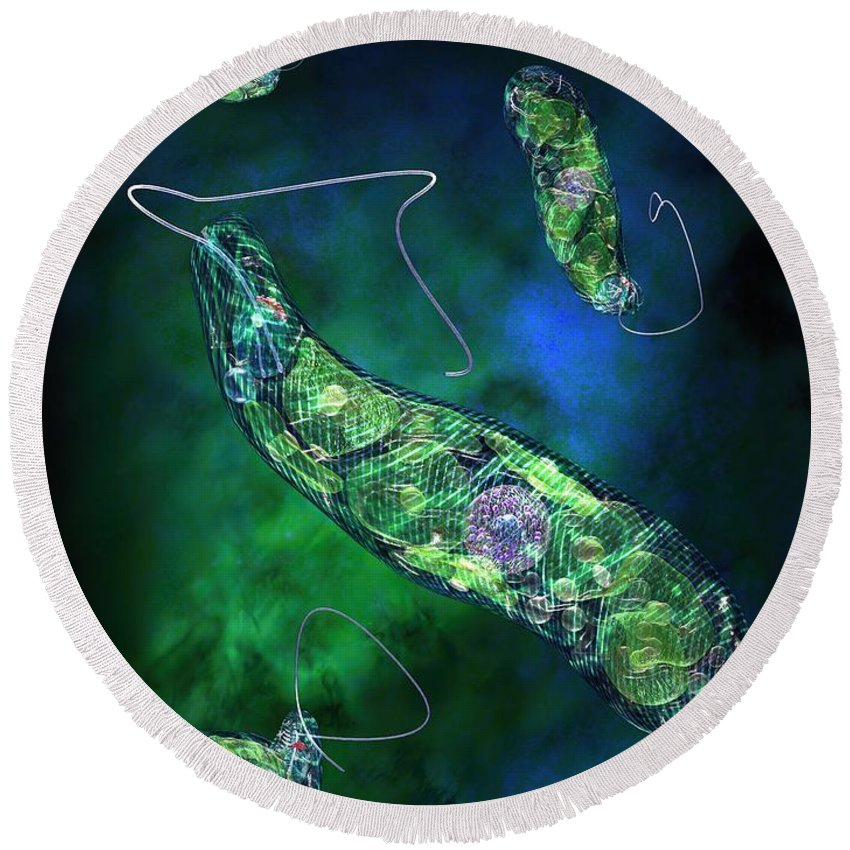 Biological Round Beach Towel featuring the digital art Euglena Blue by Russell Kightley