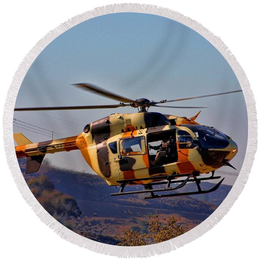 Us Army Round Beach Towel featuring the photograph Eurocopter Uh-72 Lakota by Tommy Anderson