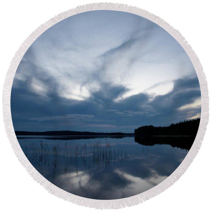 Jouko Lehto Round Beach Towel featuring the photograph Evening Clouds Over Haukkajarvi by Jouko Lehto