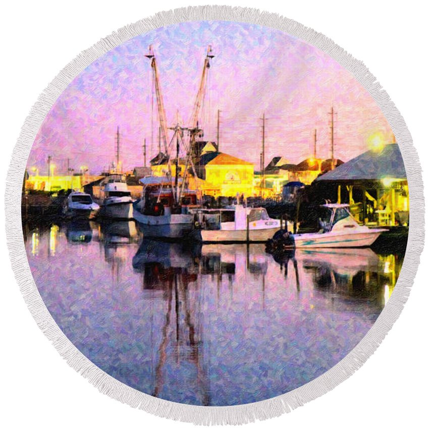 Topsail Round Beach Towel featuring the digital art Evening Peace by Betsy Knapp