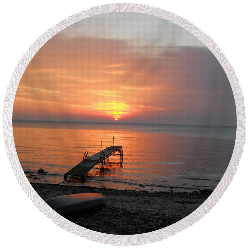 Kayaking Round Beach Towel featuring the photograph Evening Rest by Carrie Godwin