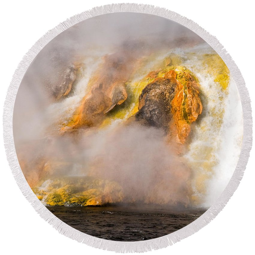 Yellowstone Round Beach Towel featuring the photograph Excelsior Geyser by Steve Stuller