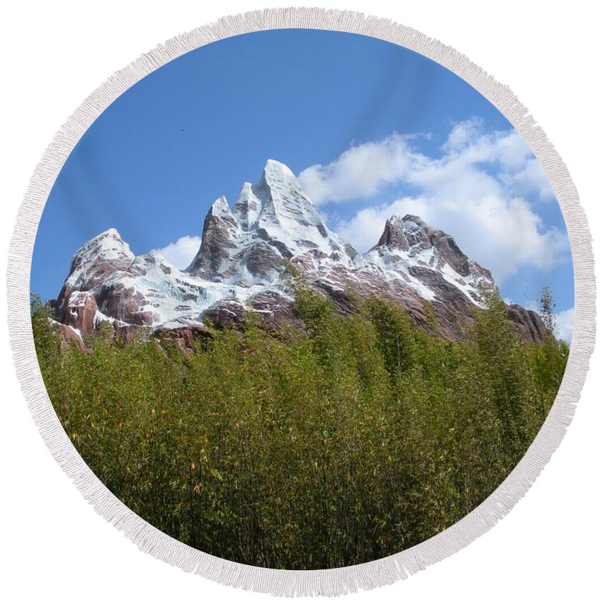 Mountain Round Beach Towel featuring the photograph Expedition Everest by Maria Bonnier-Perez