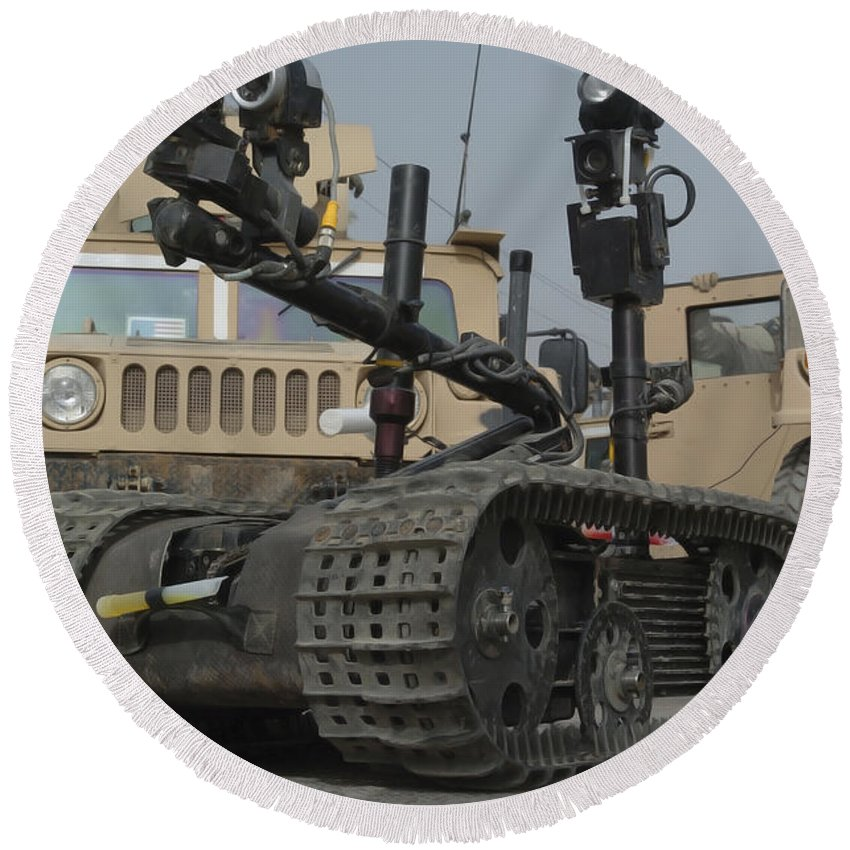 Us Navy Round Beach Towel featuring the photograph Explosive Ordnance Disposal Robot Used by Stocktrek Images