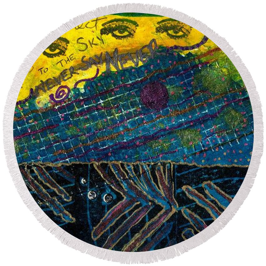 Women Round Beach Towel featuring the mixed media Eyes In The Sky by Angela L Walker