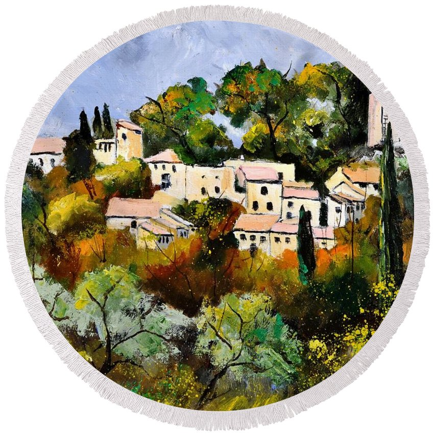 Landscape Round Beach Towel featuring the painting Eygalieres by Pol Ledent