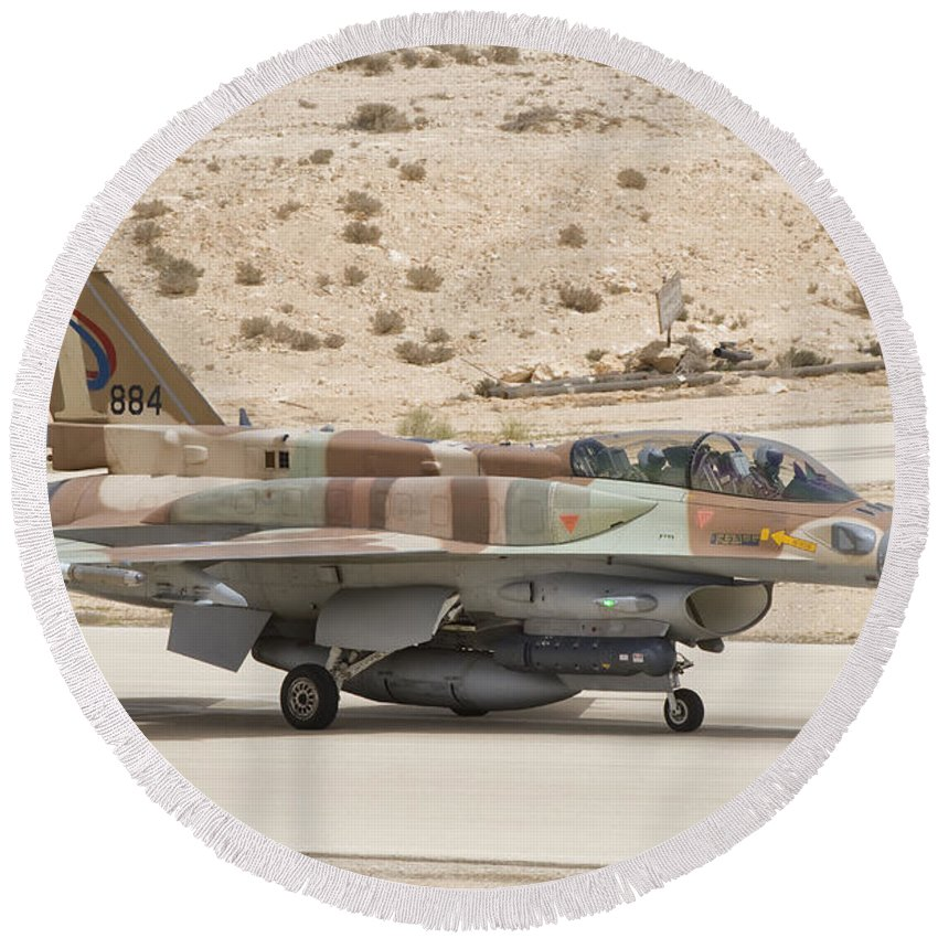 Israel Round Beach Towel featuring the photograph F-16i Sufa Fighting Falcon by Giovanni Colla