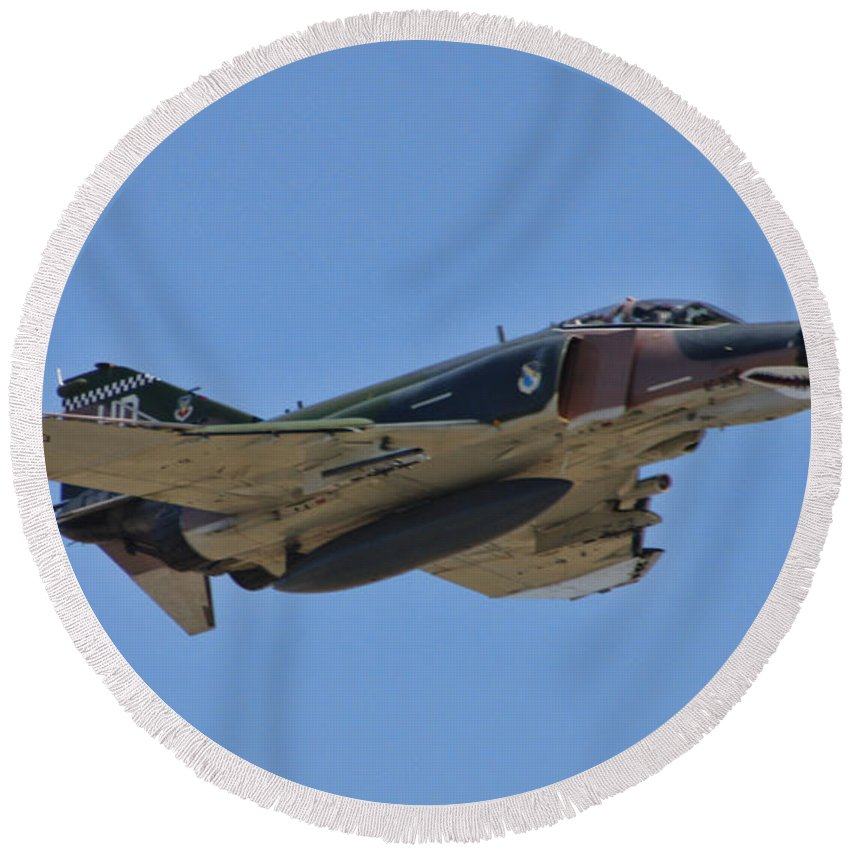 Round Beach Towel featuring the photograph F-4 Phantom II by Tommy Anderson