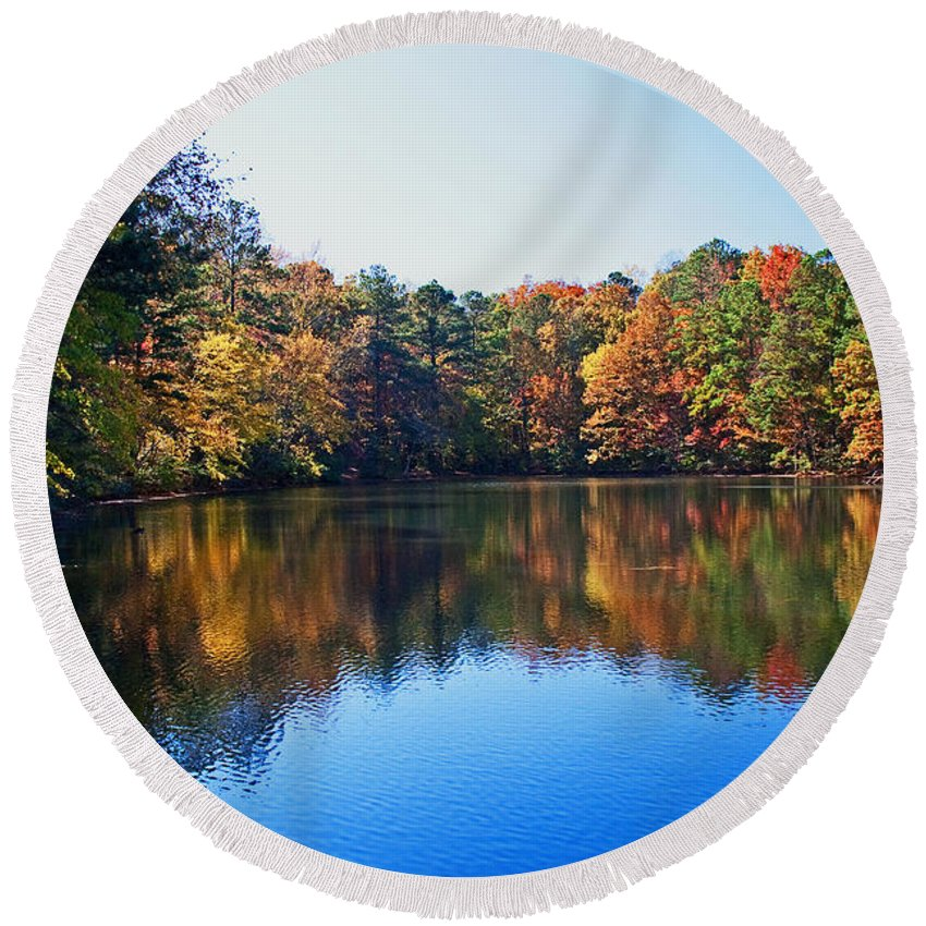Fall Round Beach Towel featuring the photograph Fall Colors by David Campbell
