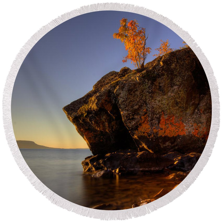 Aboriginal Round Beach Towel featuring the photograph Fall Colours In The Squaw Bay Fallen Rock by Jakub Sisak