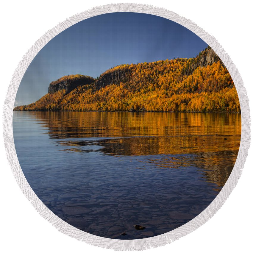 Autumn Round Beach Towel featuring the photograph Fall Colours In The Squaw Bay II by Jakub Sisak