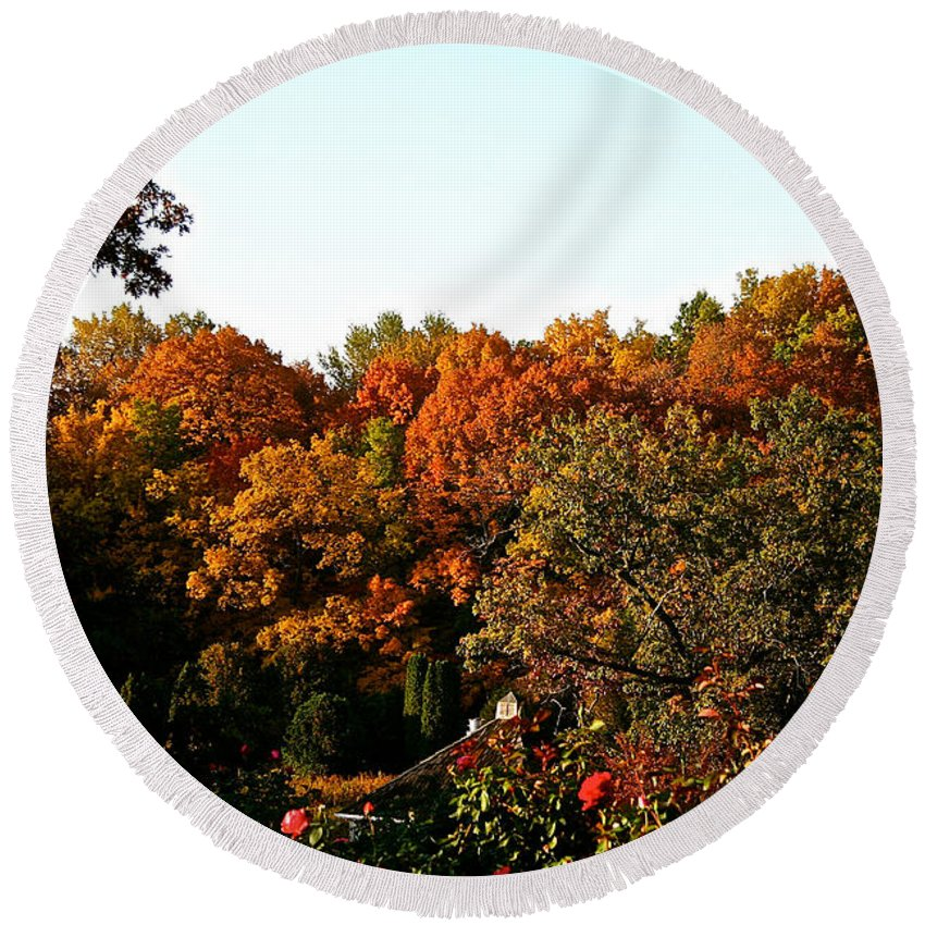 Outdoors Round Beach Towel featuring the photograph Fall Foliage And Roses by Susan Herber