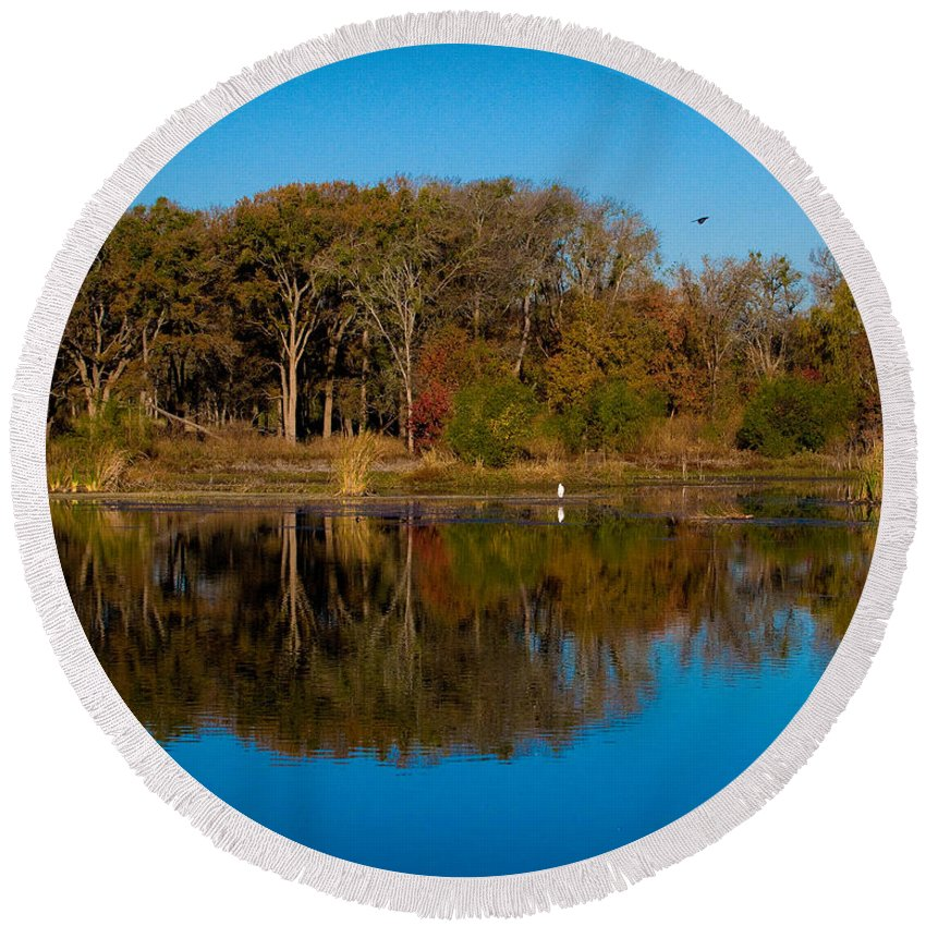 Fall Color Round Beach Towel featuring the photograph Fall Lake 4 by Sean Wray