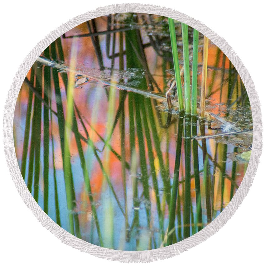 Fall Round Beach Towel featuring the photograph Fall Reflections by Bill Pevlor