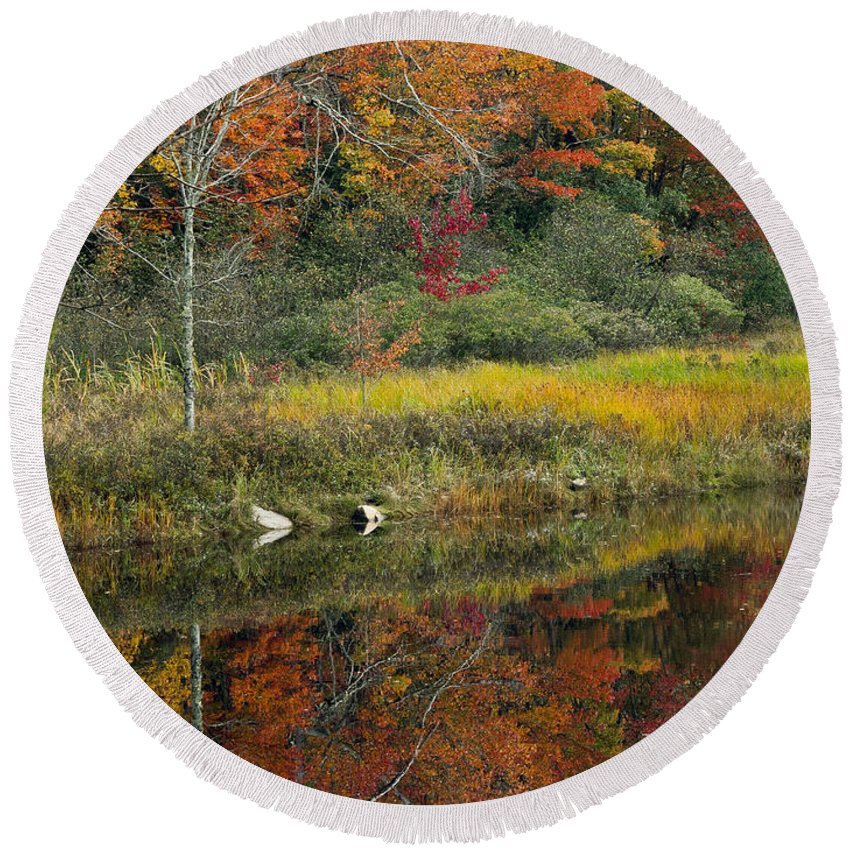 Maine Round Beach Towel featuring the photograph Fall Reflections by Glenn Gordon