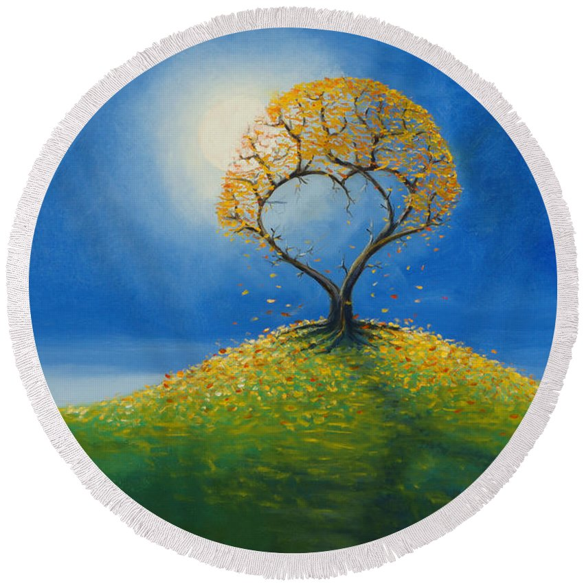 Love Round Beach Towel featuring the painting Falling For You 2 by Jerry McElroy
