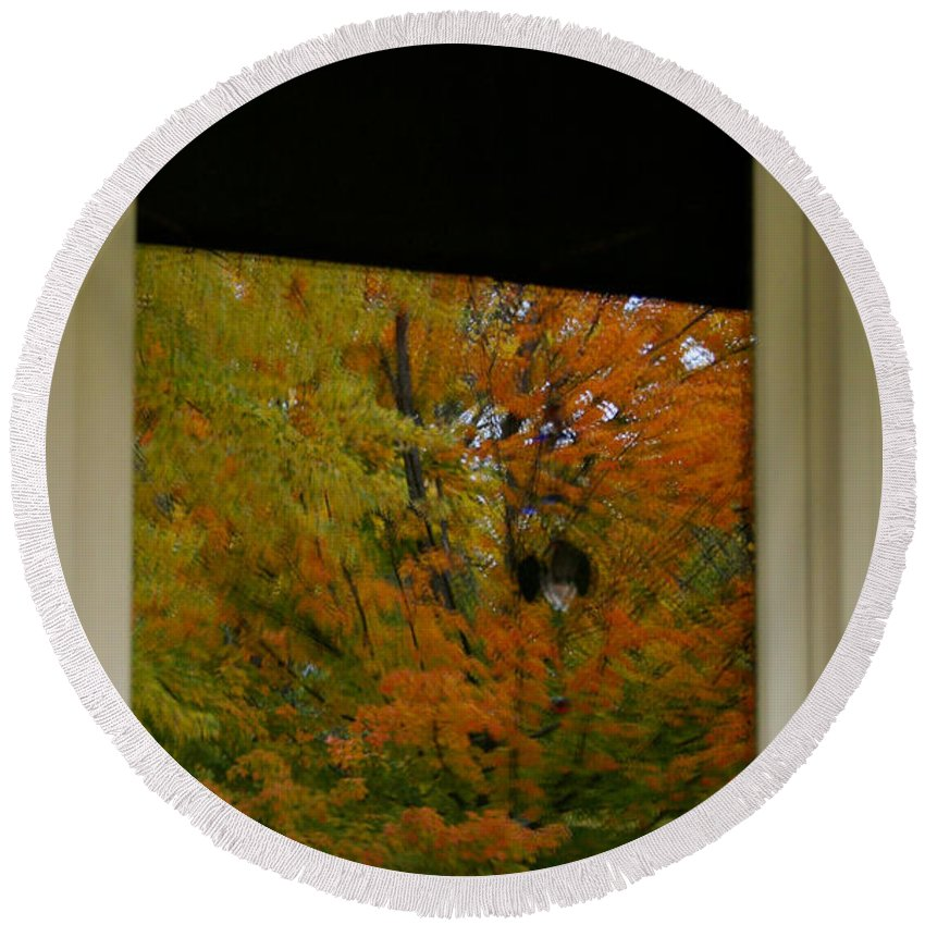 Outdoors Round Beach Towel featuring the photograph Fall's Reflective Moment by Susan Herber