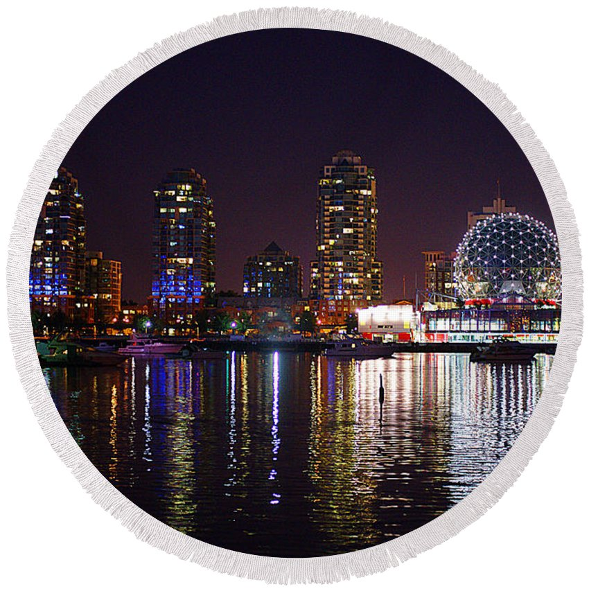Vancouver Round Beach Towel featuring the photograph False Creek At Night by Randy Harris