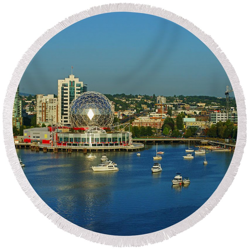 Vancouver Round Beach Towel featuring the photograph False Creek by Randy Harris
