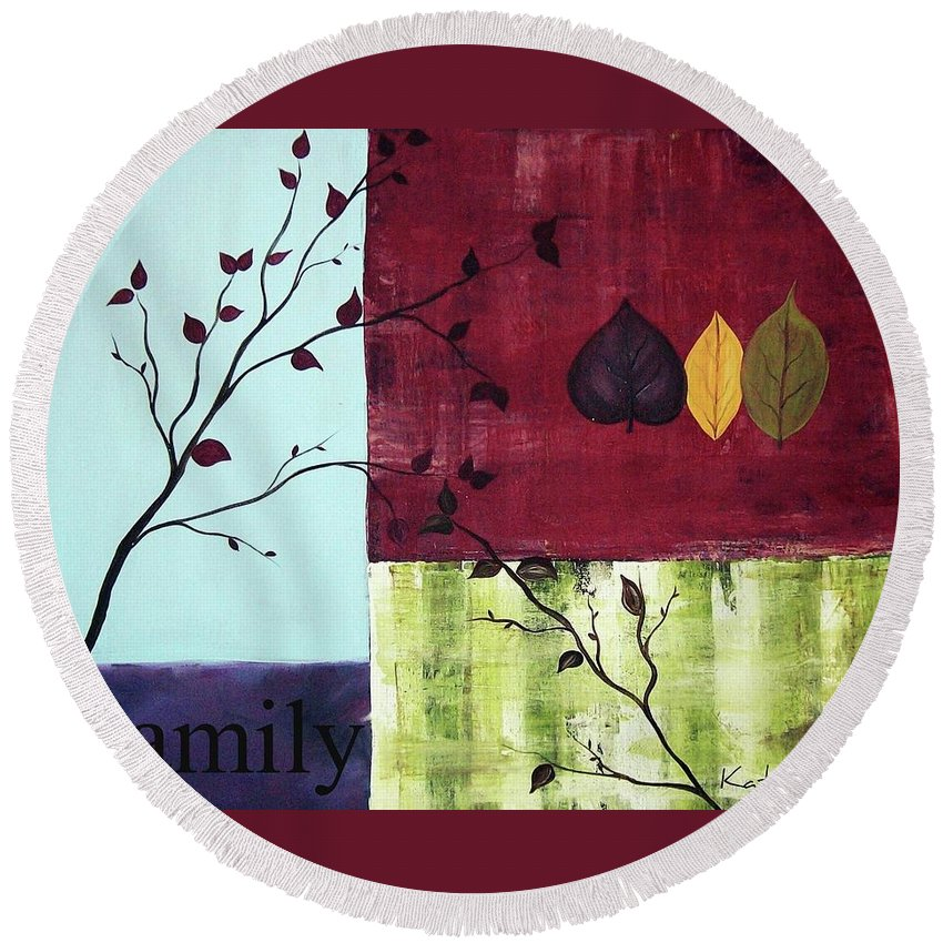 Family Round Beach Towel featuring the painting Family by Katie Slaby