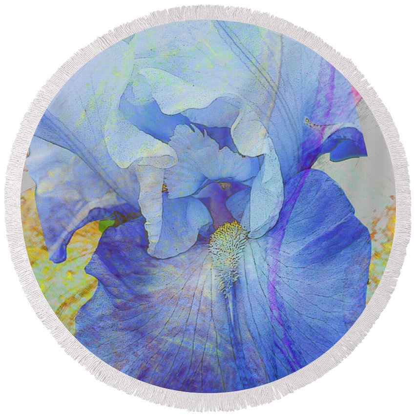 Iris Round Beach Towel featuring the photograph Fanciful Flowers - Iris by Regina Geoghan