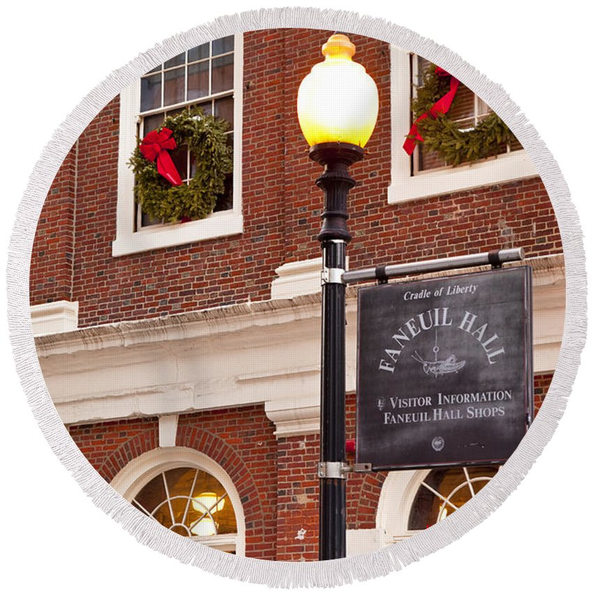 Faneuil Round Beach Towel featuring the photograph Faneuil Hall by Brian Jannsen