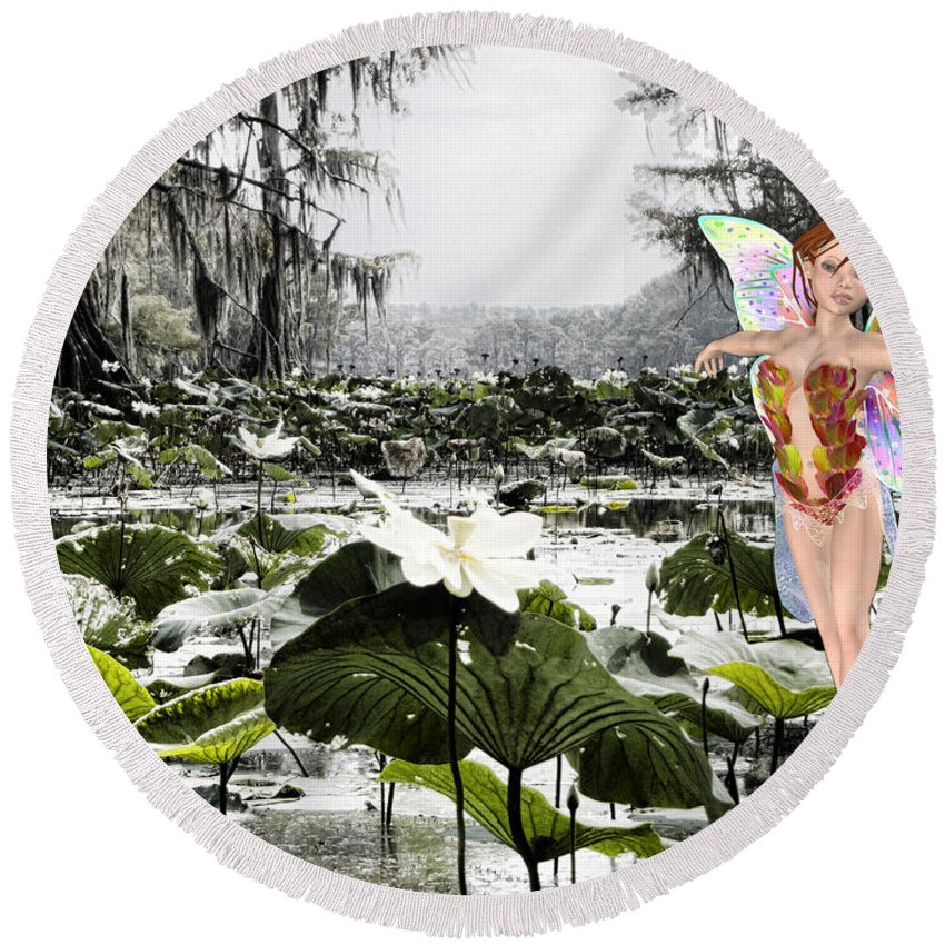Lillies Round Beach Towel featuring the mixed media Fantasy Woods by Douglas Barnard