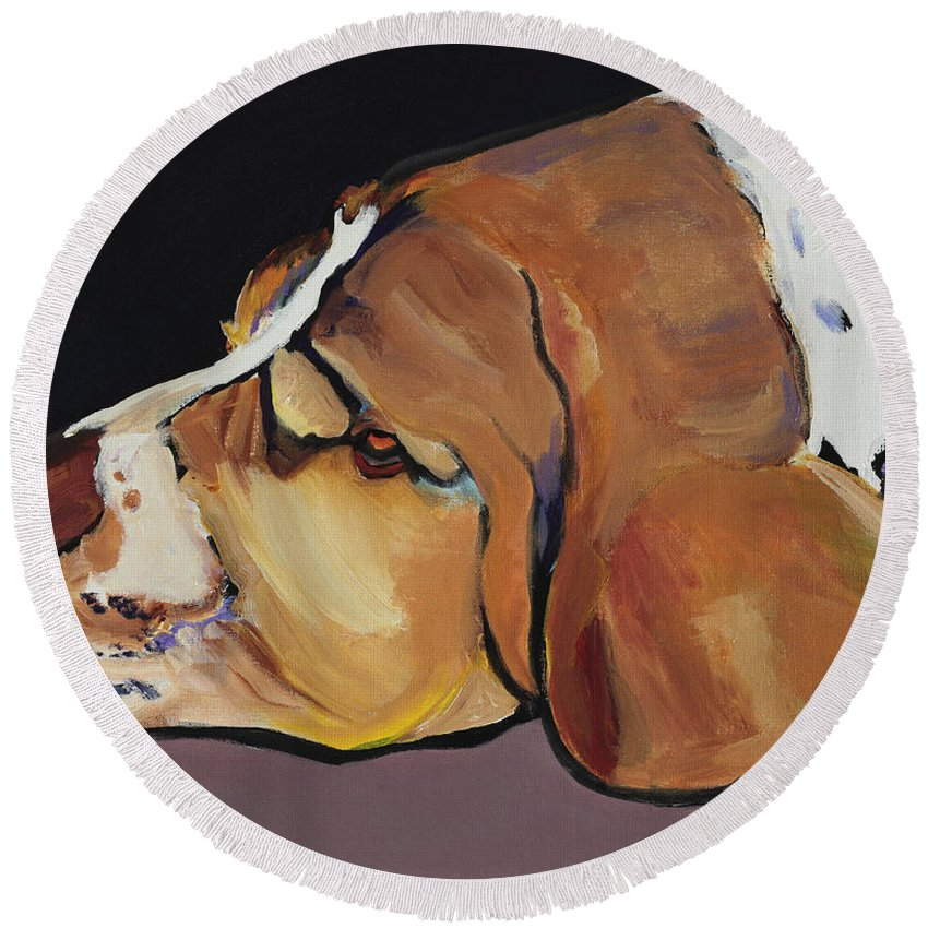 Animal Portrait Round Beach Towel featuring the painting Farley by Pat Saunders-White