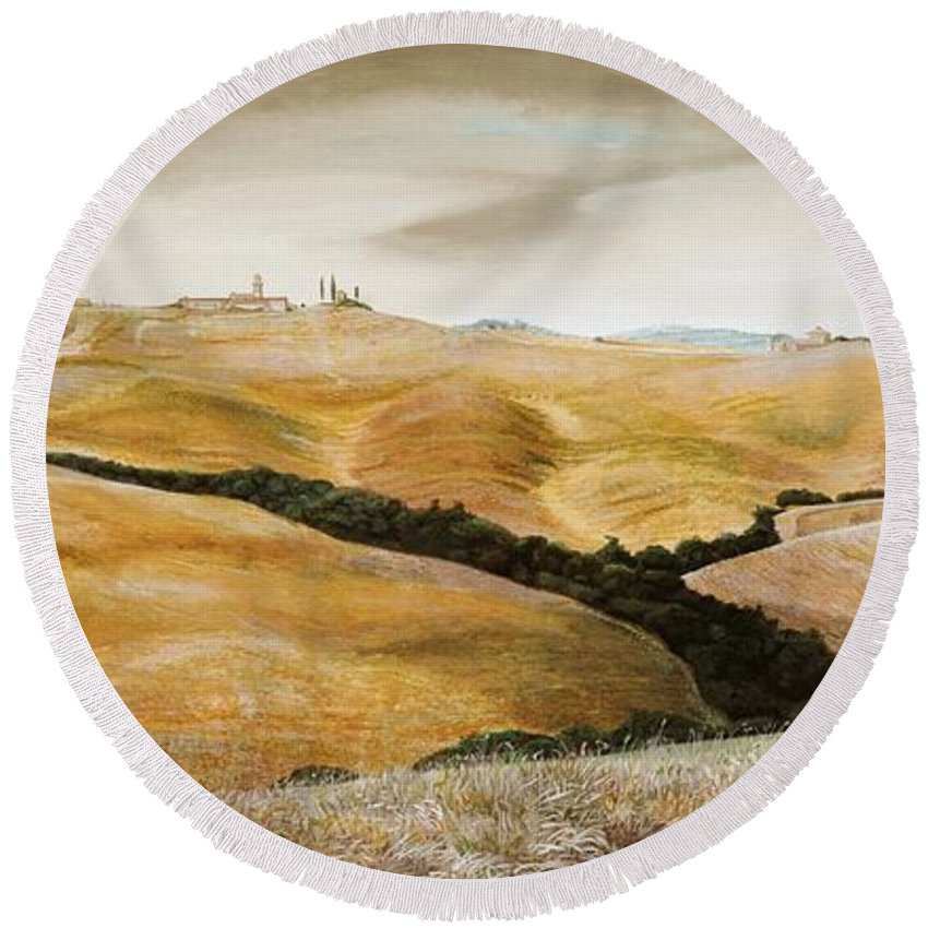 Italian; Tuscan; Rural; Italian Landscape; Agricultural; Fields; Hills; Farming; Tree; Trees; Agriculture; Toscane; Italy; Tuscany Round Beach Towel featuring the painting Farm On Hill - Tuscany by Trevor Neal