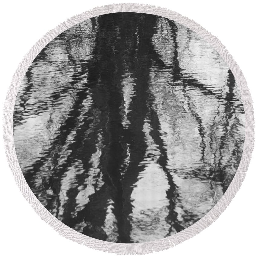 Trees Round Beach Towel featuring the photograph Farm Pond Reflection by Steven Natanson