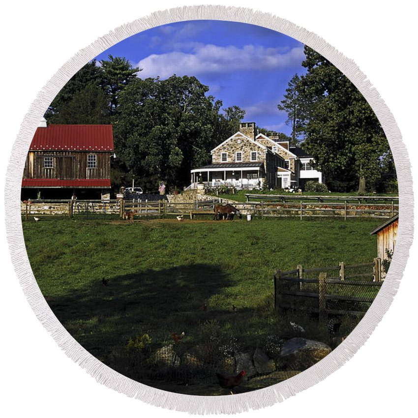 Large Barn Round Beach Towel featuring the photograph Farm Scene by Sally Weigand