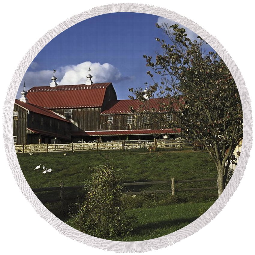 Large Wood Barn Round Beach Towel featuring the photograph Farm Scene With Barn by Sally Weigand