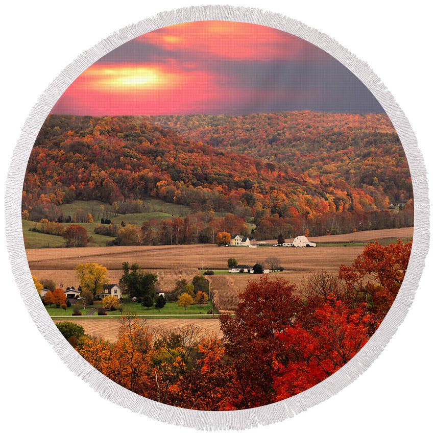 Autumn Round Beach Towel featuring the photograph Farmers Of Paint Valley by Randall Branham