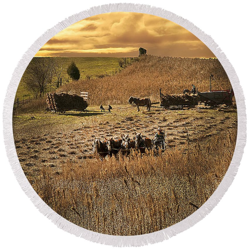 Sundown Round Beach Towel featuring the photograph Farming To Beat The Storm by Randall Branham